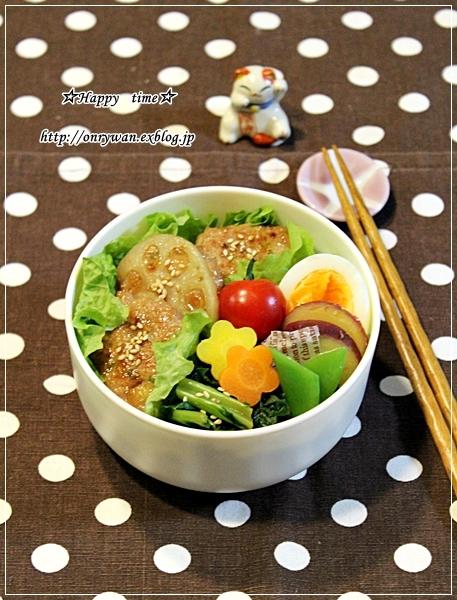 菜飯で蓮根つくねの照焼き丼風弁当♪_f0348032_17330661.jpg