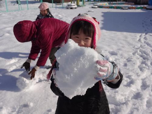 やった~雪が降ったよ!_d0166047_12264634.jpg