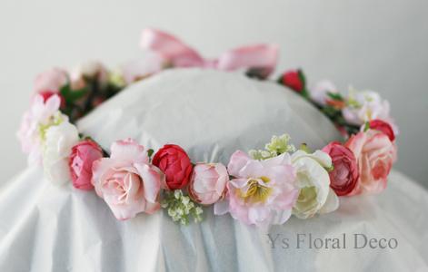 ピンク色の花冠 軽井沢石の教会挙式のおふたりに_b0113510_1332670.jpg