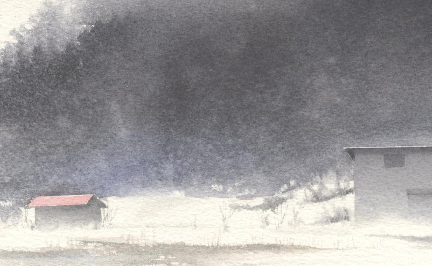 赤い屋根 水彩画_f0176370_13432644.jpg