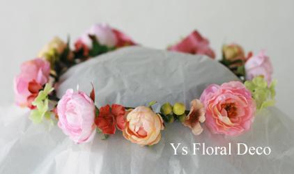 サーモンピンクのドレスにあわせる生花ブーケとアーティフィシャル花冠 _b0113510_16282188.jpg