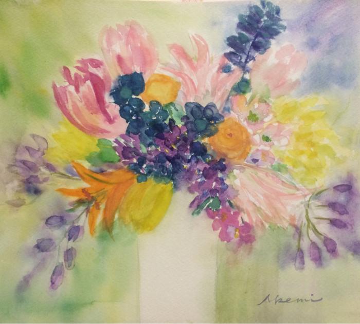 春の花(水彩画)_e0233674_22163435.jpg