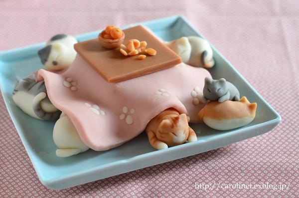 猫こたつの練りきり   Homemade Cat\'s Nerikiri-Kotatsu(Japanese traditional leg heater)_d0025294_15305178.jpg
