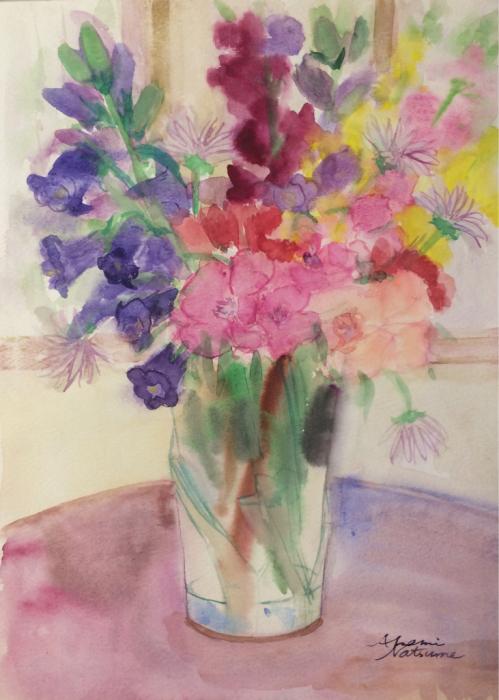 チェリーの庭の花(水彩画)_e0233674_14264659.jpg