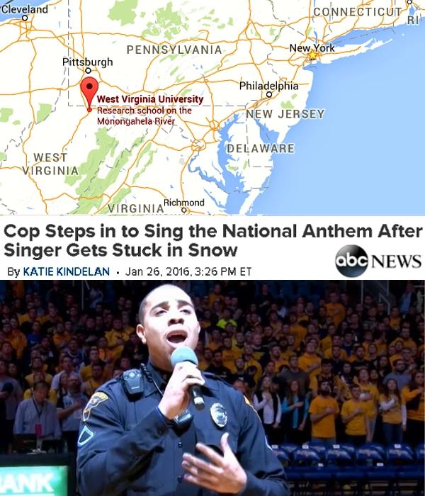大雪の影響で大学バスケの試合前セレモニーに歌手が間に合わず、警備してた警察官さんが国歌斉唱を熱唱?!_b0007805_1919141.jpg