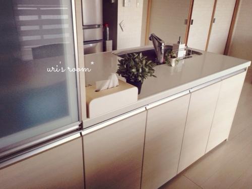 キッチンカウンター。お気に入りのティッシュボックスでごちゃごちゃ隠し。_a0341288_17265888.jpg