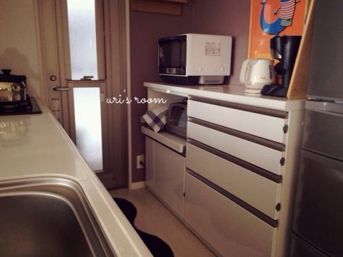 キッチンカウンター上のごちゃつきをキッチンクロスで目隠し!それからローソンのレモンケーキのレベルが高い!_a0341288_17272813.jpg