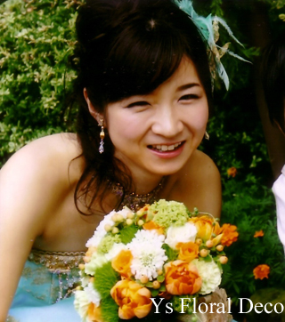 ターコイズブルーのドレスにあわせるクラッチブーケ_b0113510_18434342.jpg