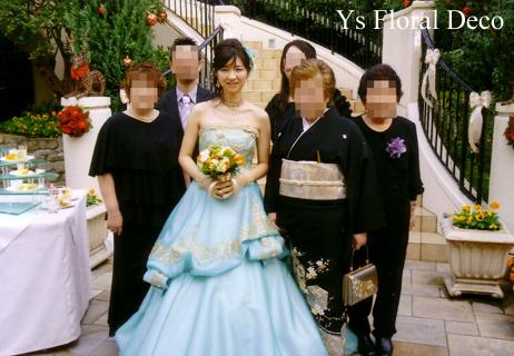 ターコイズブルーのドレスにあわせるクラッチブーケ_b0113510_18435648.jpg