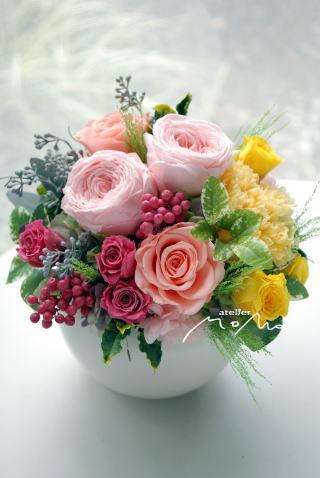 ピンク&イエローのお花で 贈呈用アレンジ!_a0136507_21385749.jpg