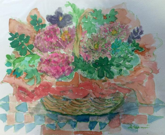 花籠/ホタルブクロ(水彩画)_e0233674_16053524.jpg