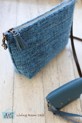 手織り風の生地で ファスナーつきの縫わないポシェット_e0040957_19251462.jpg