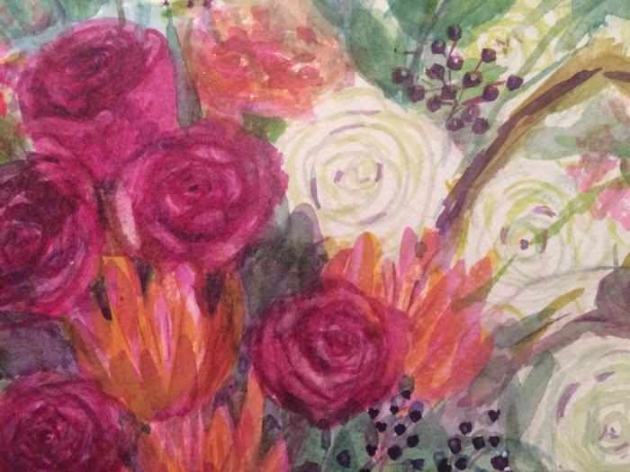 赤と白の薔薇のアレンジメント(水彩画)_e0233674_13495234.jpg