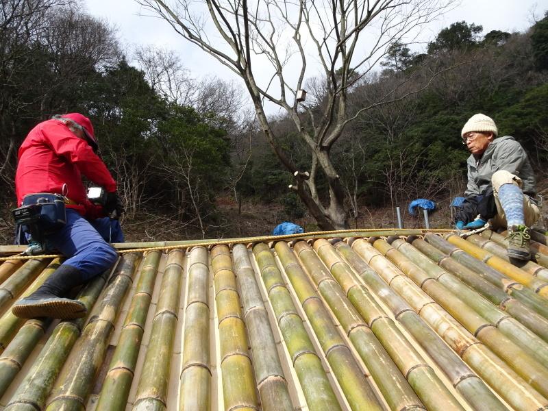 寒風の中屋根葺き作業継続中 in 孝子の森     by     (TATE-misaki)_c0108460_20044123.jpg