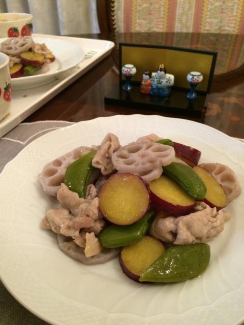 豚肉と蓮根の塩炒め&マッシュルームごはん_e0146470_18020364.jpg
