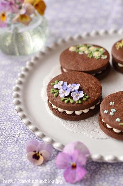 友チョコに、春の花のアイシングチョコレートクッキーサンド Homemade Icyng Cookie Sandwiches_d0025294_16113547.jpg
