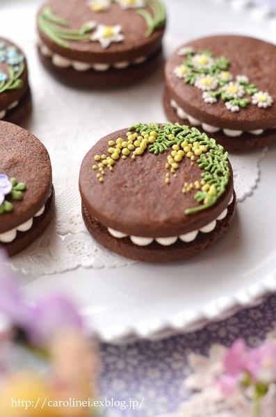 友チョコに、春の花のアイシングチョコレートクッキーサンド Homemade Icyng Cookie Sandwiches_d0025294_16121677.jpg