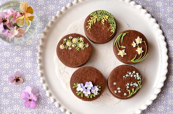 友チョコに、春の花のアイシングチョコレートクッキーサンド Homemade Icyng Cookie Sandwiches_d0025294_16123999.jpg