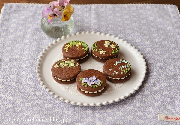 友チョコに、春の花のアイシングチョコレートクッキーサンド Homemade Icyng Cookie Sandwiches_d0025294_1683956.jpg