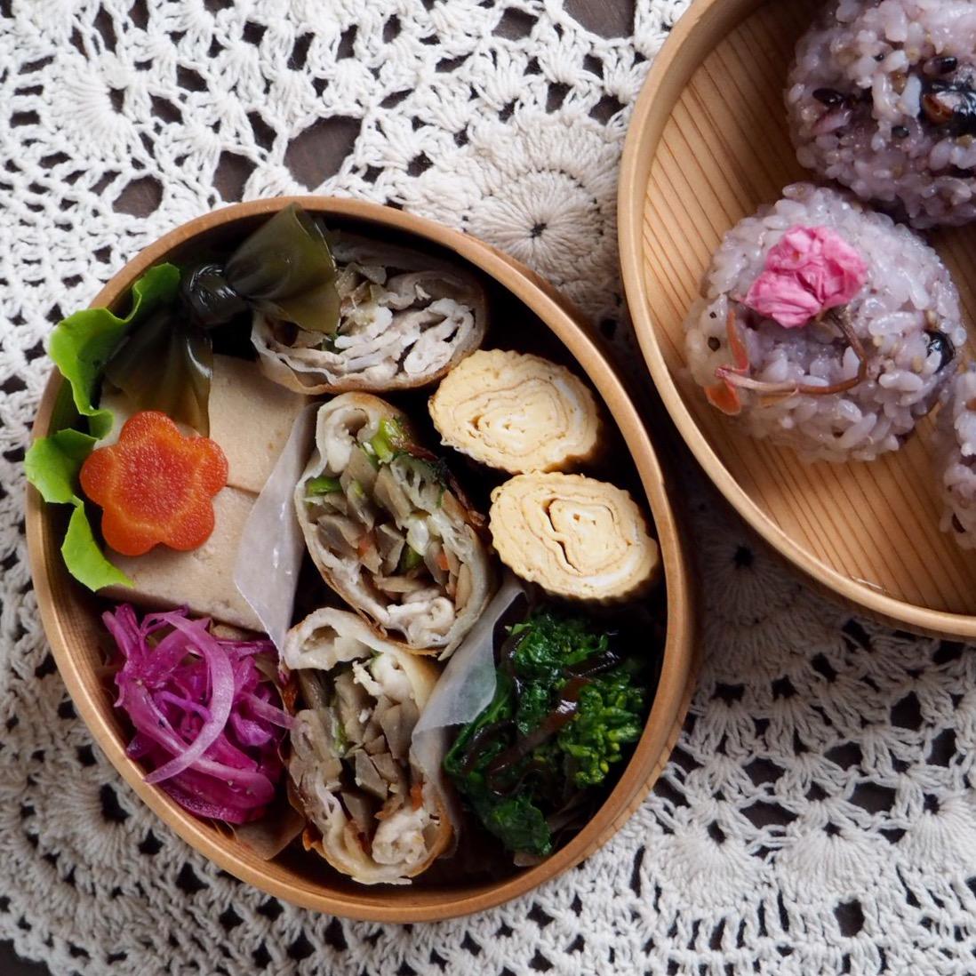 生姜豚と金平のリメイク春巻き弁当_c0270834_832117.jpg
