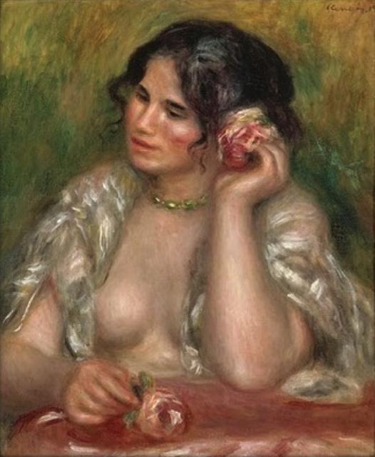 巨匠の《バラの絵》シリーズ: ルノワール、「薔薇をもつガブリエル」_e0356356_16331105.jpg