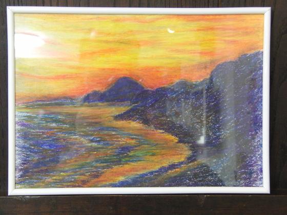 クレヨン画 ~ 稲村ヶ崎からの風景 ~ _e0222340_1657079.jpg