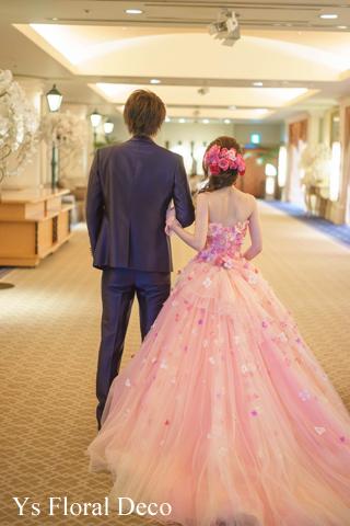 ピンク色を大人っぽく たっぷりのヘッドドレスとクラッチブーケ_b0113510_18551053.jpg