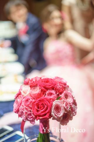 ピンク色を大人っぽく たっぷりのヘッドドレスとクラッチブーケ_b0113510_18552236.jpg
