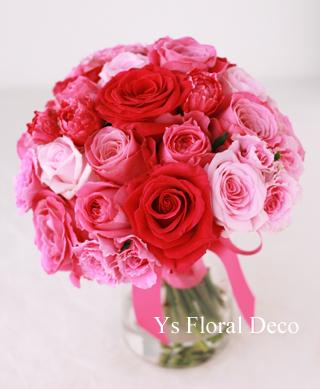 ピンク色を大人っぽく たっぷりのヘッドドレスとクラッチブーケ_b0113510_18553450.jpg