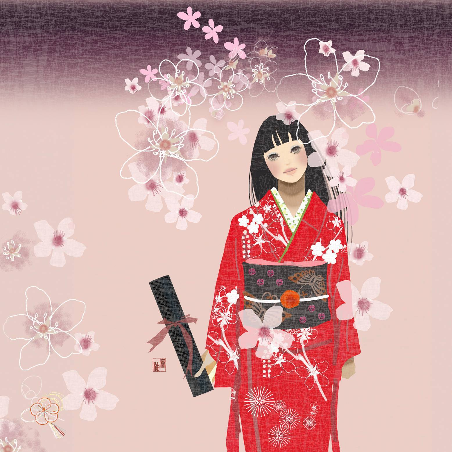 ヒナコタビダチ。赤いきもの kimono illustration_f0172313_15223292.jpg