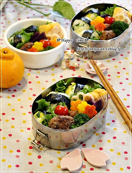 かつお菜と沢庵でおにぎり弁当♪_f0348032_18361055.jpg