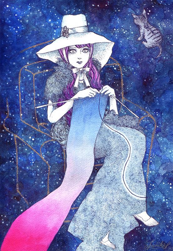 「A knitting girl」  < イラストレーション70 > _f0228652_1542795.jpg