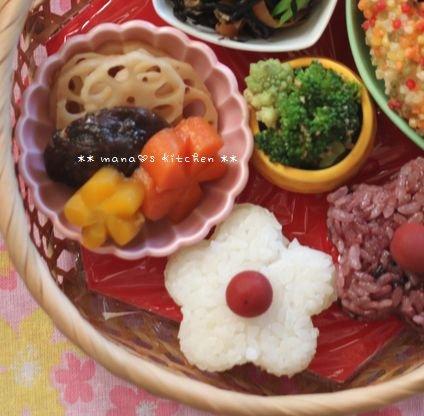 籠弁当✿お花見風 / 和風豆腐ハンバーグ♪_c0139375_11103363.jpg