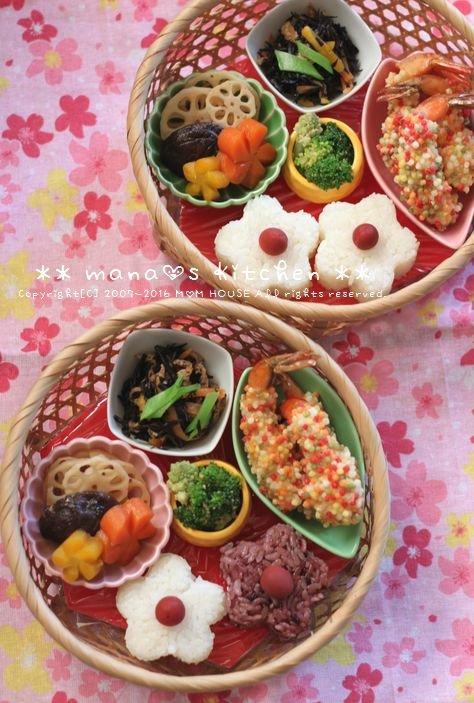 籠弁当✿お花見風 / 和風豆腐ハンバーグ♪_c0139375_11104649.jpg