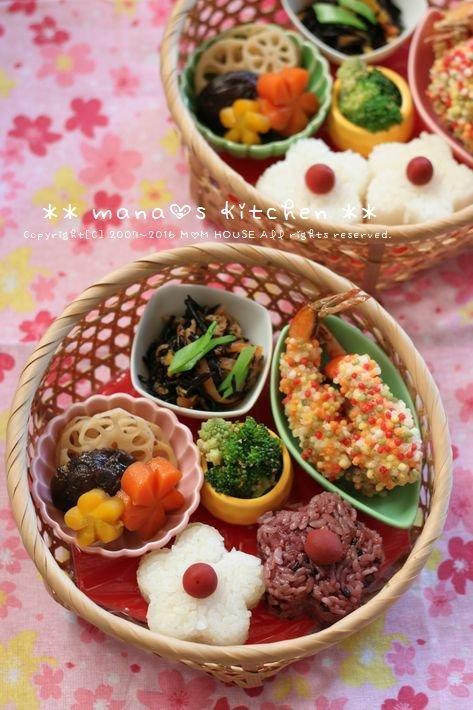 籠弁当✿お花見風 / 和風豆腐ハンバーグ♪_c0139375_1181972.jpg