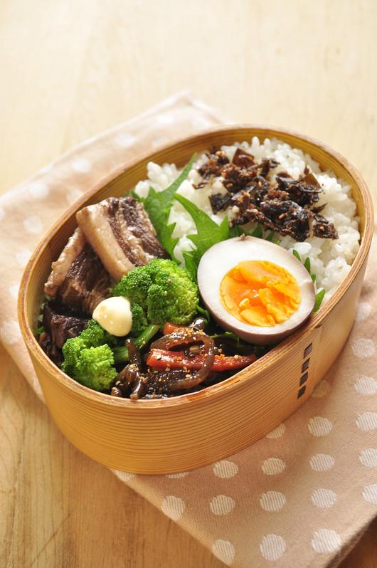 黒酢豚と煮玉子のお弁当_b0171098_812381.jpg