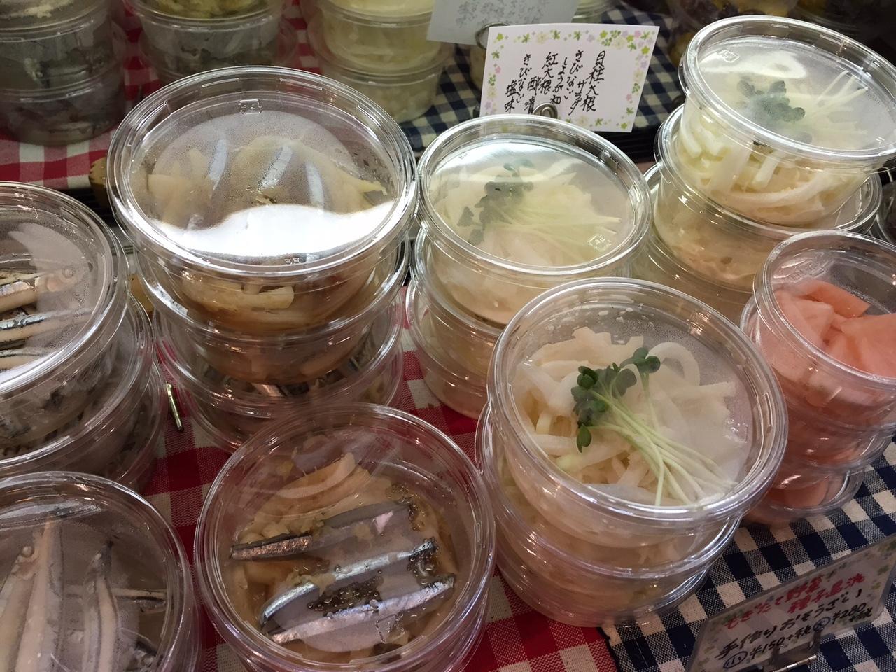 手作りミニお惣菜♪貝柱大根サラダ、きびなご生姜和え、紅大根酢漬け、きびなご塩味♪日本酒と合わせても◎♪_c0069047_16574128.jpg