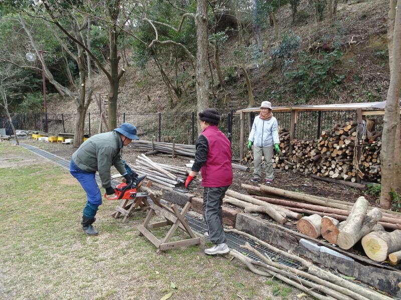 薪&杭作り&手すり作り準備・・・うみべの森_c0108460_22283419.jpg