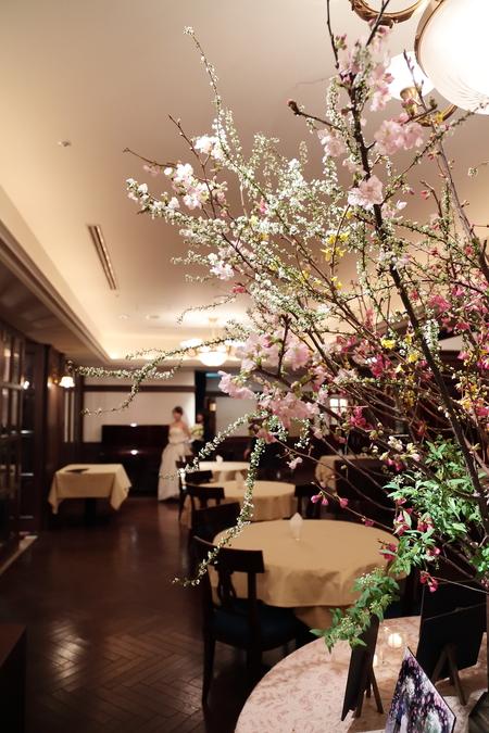 春の装花 桜と春の枝で シェ松尾青山サロン様へ_a0042928_2048192.jpg