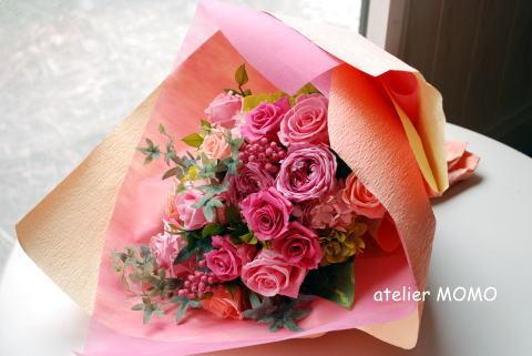 贈呈用花束! ピンク&ブルー_a0136507_21311657.jpg