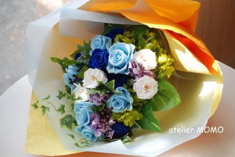 贈呈用花束! ピンク&ブルー_a0136507_21313246.jpg