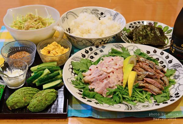 3月22日 火曜日 塩麹煮豚で手巻き_b0288550_11525219.jpg