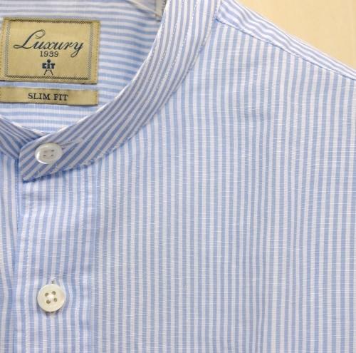 CIT LUXURY(チット・ラグジュアリー)バンドカラーコットンリネンロンドンストライプシャツ(GCITY)白Xサックス_c0118375_01105599.jpg