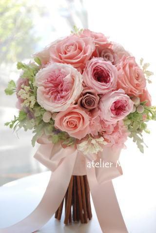 春色!ピンクのクラッチブーケ_a0136507_21523844.jpg