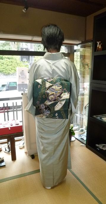 牛首紬に、西陣まいづる楽器の袋帯のお客様。_f0181251_18463119.jpg