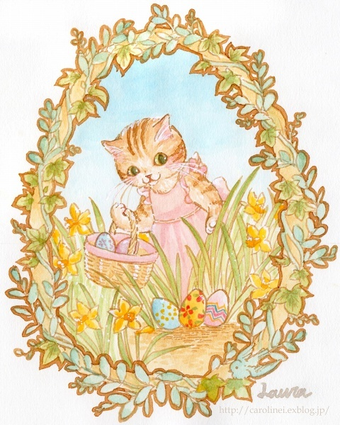 イースターの猫イラスト Happy Easter!-Laura\'s Easter Cat Illustration_d0025294_13352396.jpg