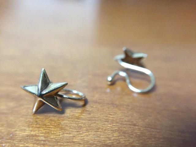 耳たぶが痛くなーい♪小さな星のクリップイヤリング_d0339885_19393387.jpg