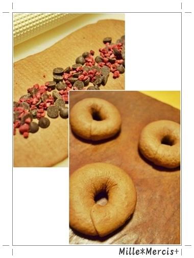 チョコとラズベリーのベーグル@林檎の芯酵母_a0348473_13451494.jpg