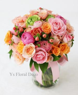 ピンク色のドレスに クラッチブーケと花冠_b0113510_20225208.jpg