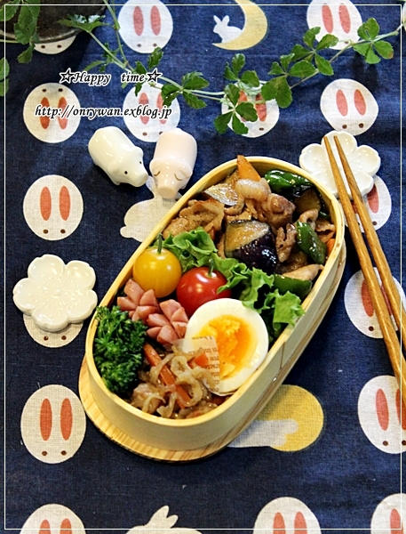 豚肉と茄子ピーマンの甘辛炒め弁当と苺酵母バゲットでブランチ♪_f0348032_18134710.jpg